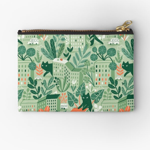 Giant cats, plants and dormitory area. Zipper Pouch