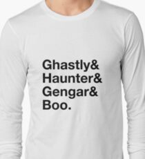 Stylish Pokemon T's | Ghastly & Haunter & Gengar & Boo | Black on Light Long Sleeve T-Shirt
