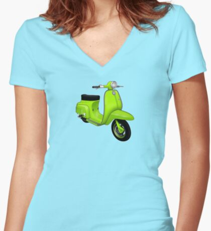 Scooter T-shirts Art: J50 Deluxe Scooter Design Women's Fitted V-Neck T-Shirt