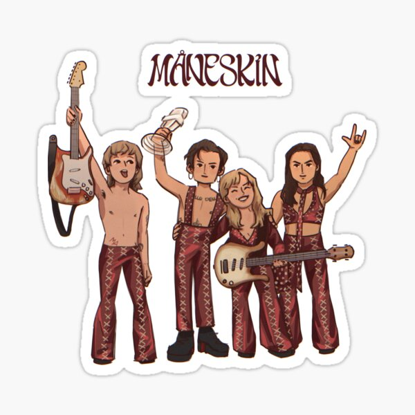 Måneskin Eurovision 2021 Final Winner Drawing (sticker and more) Sticker