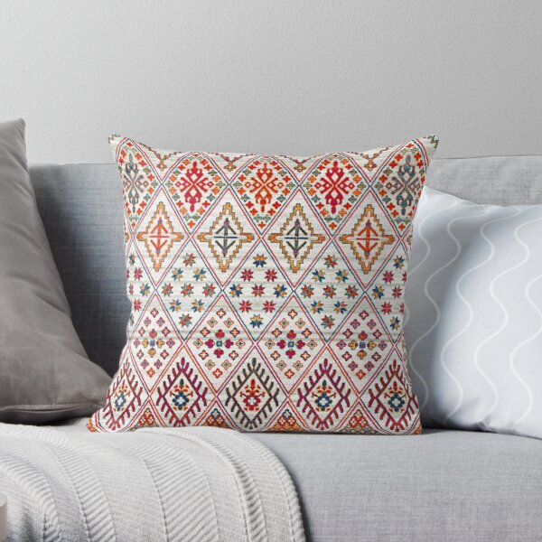Bohemian Heritage Geometric Traditional Moroccan Style Throw Pillow