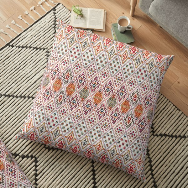 Bohemian Heritage Geometric Traditional Moroccan Style Floor Pillow