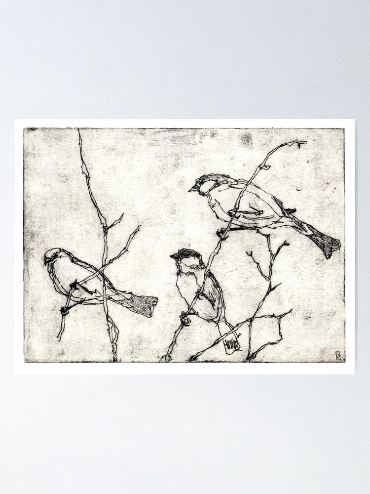 Alternative Ansicht von Vögel Radierung Poster