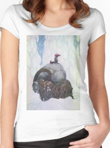 Jullbocken The Yule Goat Being Ridden By A Child Women's Fitted Scoop T-Shirt