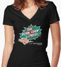 Pork Chop Express - Distressed Green Variant Women's Fitted V-Neck T-Shirt