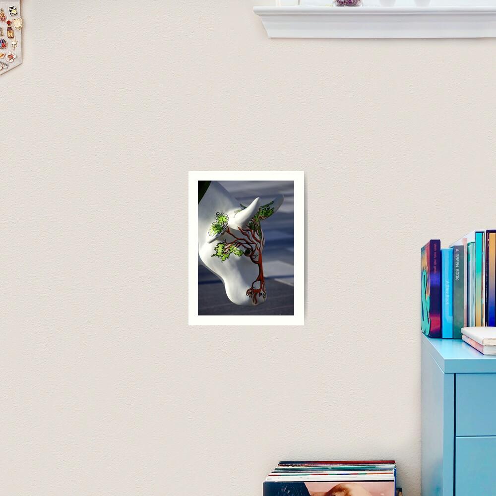 Cow with tree, Ebrington, Derry Art Print