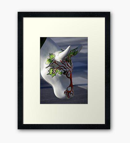 Cow with tree, Ebrington, Derry Framed Print