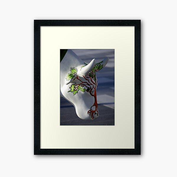 Cow with tree, Ebrington, Derry Framed Art Print