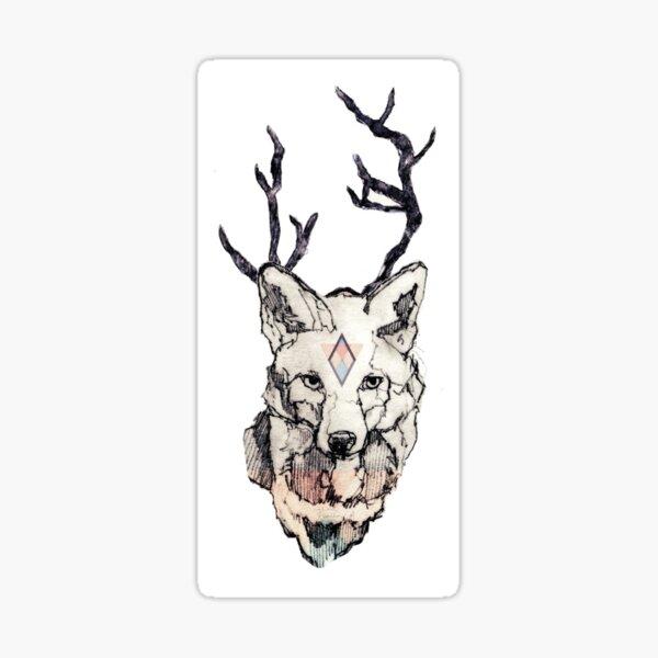 Fuchs Zeichnung Koloriert Sticker