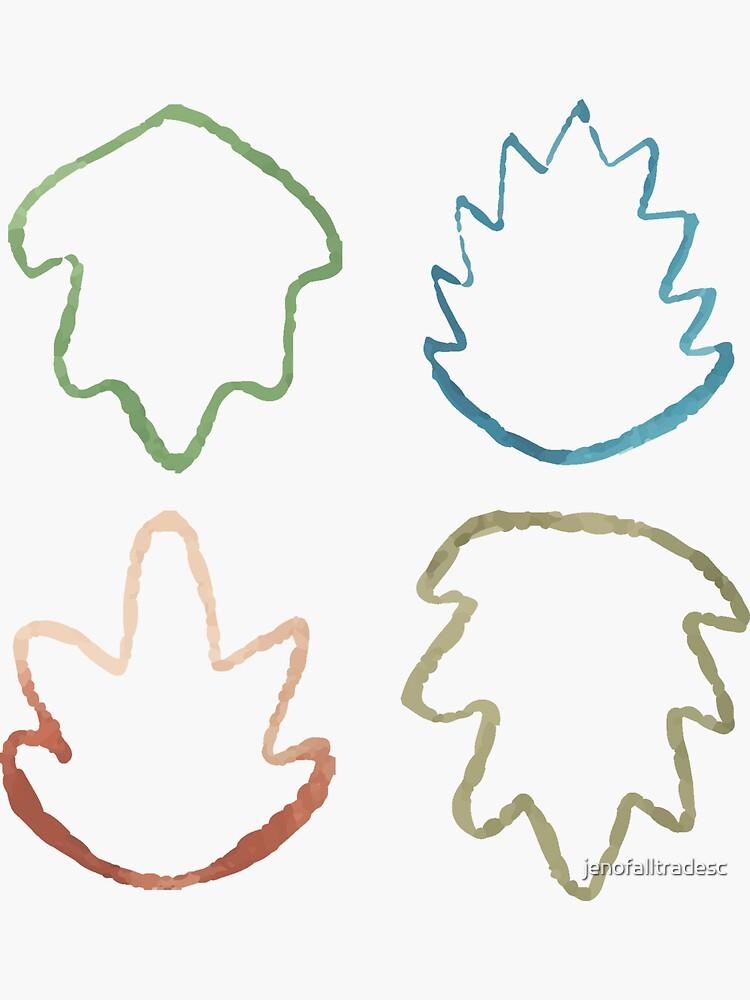 fun watercolor leaf outline pattern by jenofalltradesc