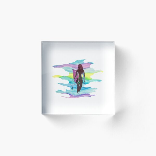 Cold water surfer girl Acrylic Block