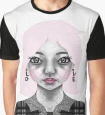 004 Long Pink Bob & L.O.V.E. Earrings Graphic T-Shirt