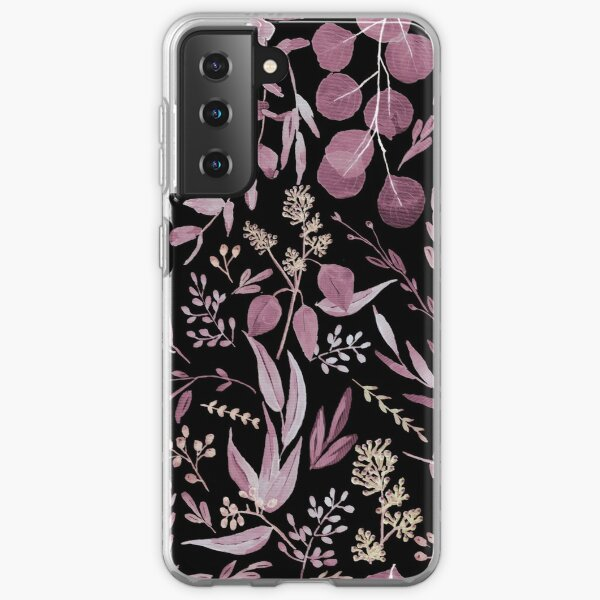 Eucalyptus Pattern - Pink and black colors Samsung Galaxy Soft Case