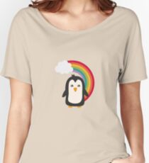 Rainbow Penguin   Women's Relaxed Fit T-Shirt