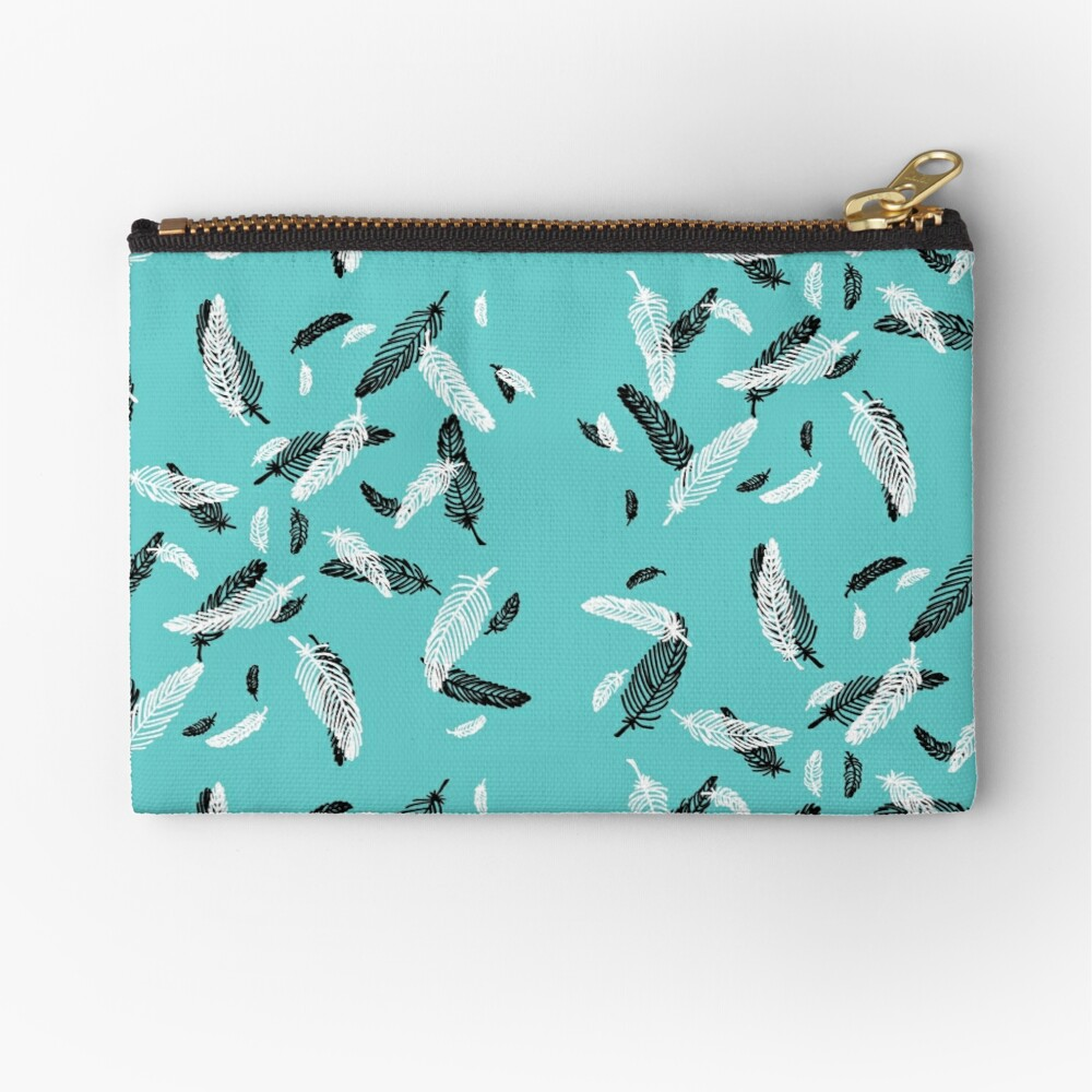 Floating Feathers Zipper Pouch