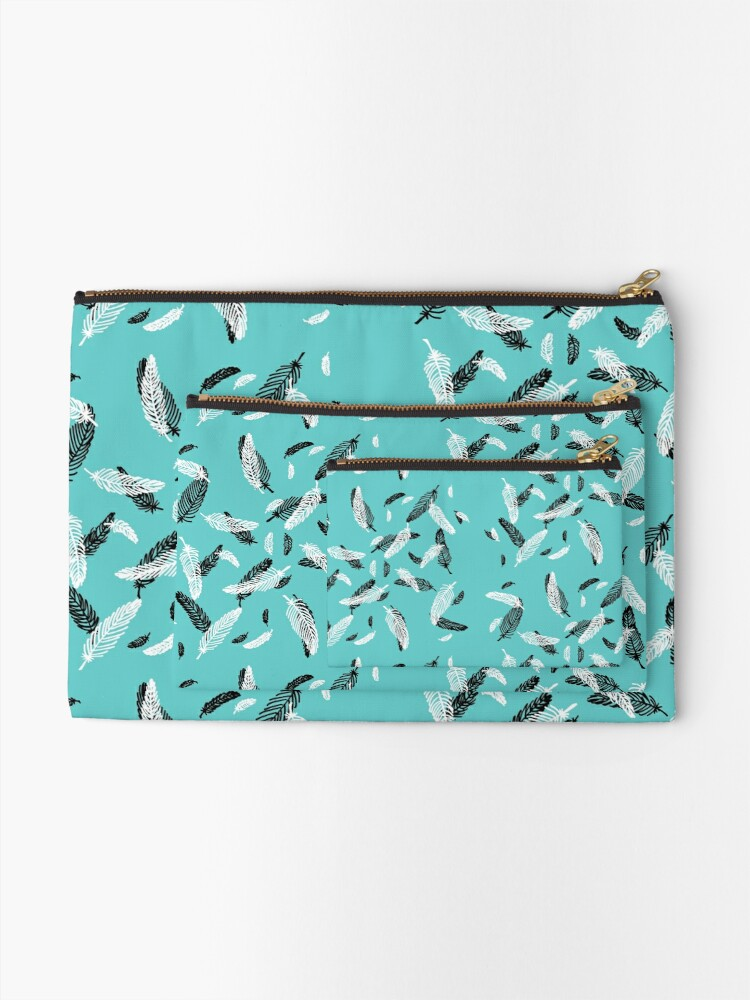 Alternate view of Floating Feathers Zipper Pouch