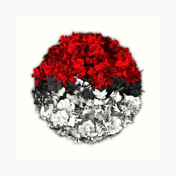 Pokeball with thousand pokemons Art Print