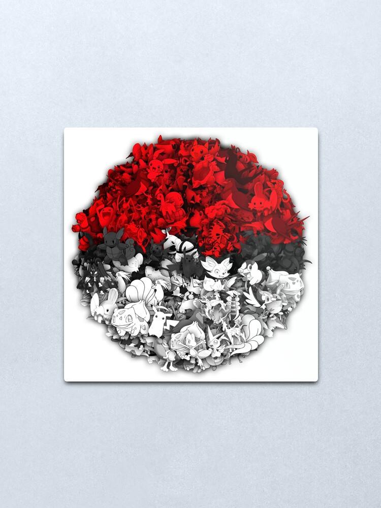 Alternate view of Pokeball with thousand pokemons Metal Print