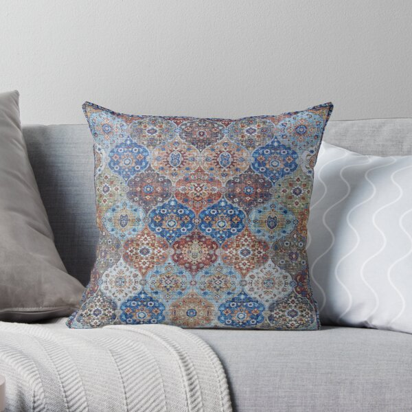 Blue Heritage Geometric Traditional Moroccan Style Throw Pillow