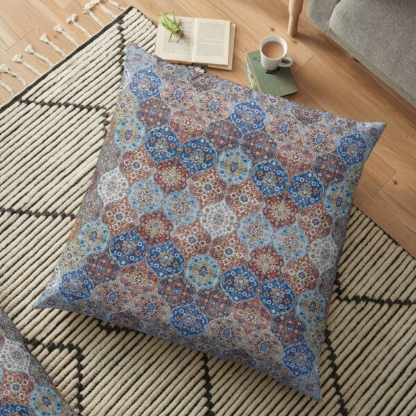Blue Heritage Geometric Traditional Moroccan Style Floor Pillow