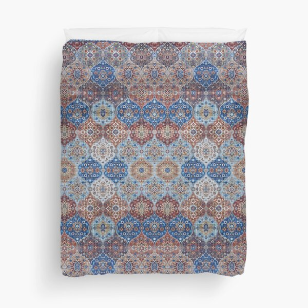 Blue Heritage Geometric Traditional Moroccan Style Duvet Cover