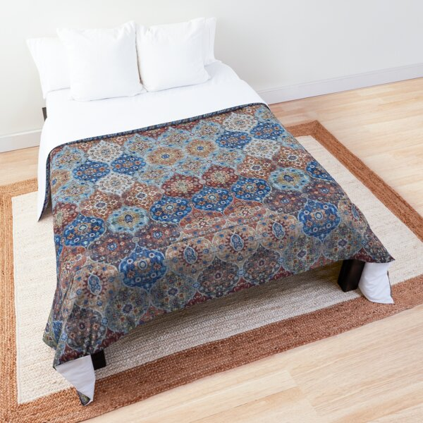 Blue Heritage Geometric Traditional Moroccan Style Comforter