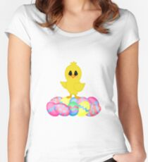 Easter Chick on Pastel Eggs Women's Fitted Scoop T-Shirt