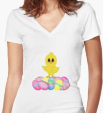 Easter Chick on Pastel Eggs Women's Fitted V-Neck T-Shirt