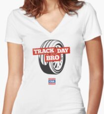Track Day Bro Women's Fitted V-Neck T-Shirt