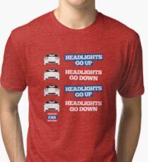 """Headlights Go Up/Down"" Miata MX-5 Tri-blend T-Shirt"
