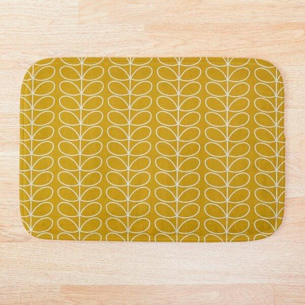 linear stem-orla design, golden yellow, white  Bath Mat