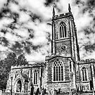 Orlingbury church (black and white) by Vicki Field