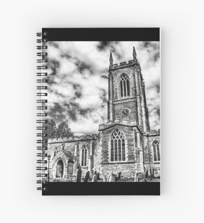 Orlingbury church (black and white) Spiral Notebook