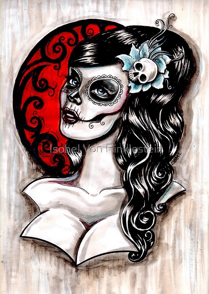 Day of the dead pinup tattoo by Isobel Von Finklestein