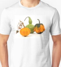 Three decorative pumpkins - green, yellow and orange on a white background T-Shirt