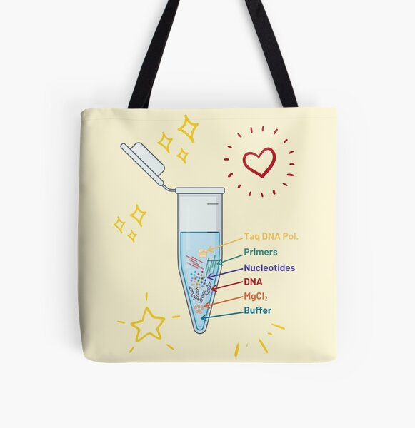 The Perfect PCR Polymerase Chain Reaction Process Steps Chemicals Biology Science Pipette Tubes All Over Print Tote Bag