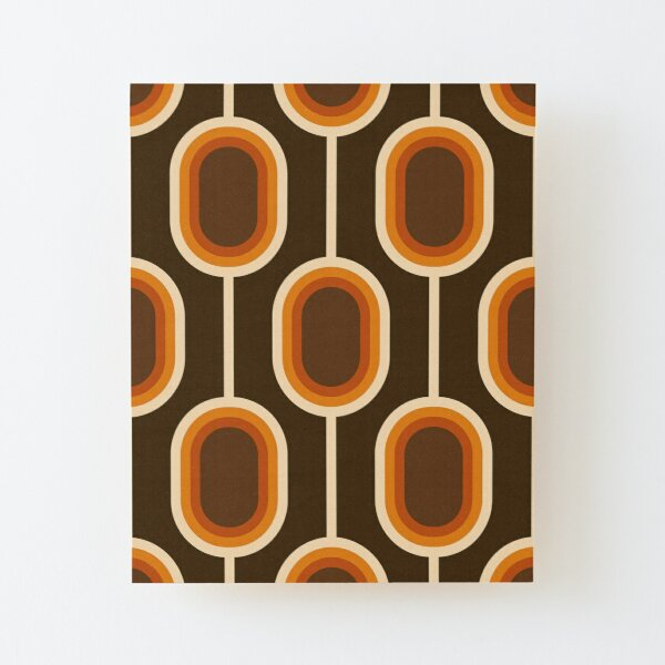 70s Pattern Orange and Brown Connected Nodes Wood Mounted Print