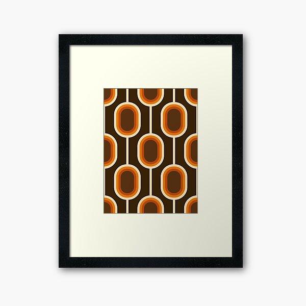 70s Pattern Orange and Brown Connected Nodes Framed Art Print