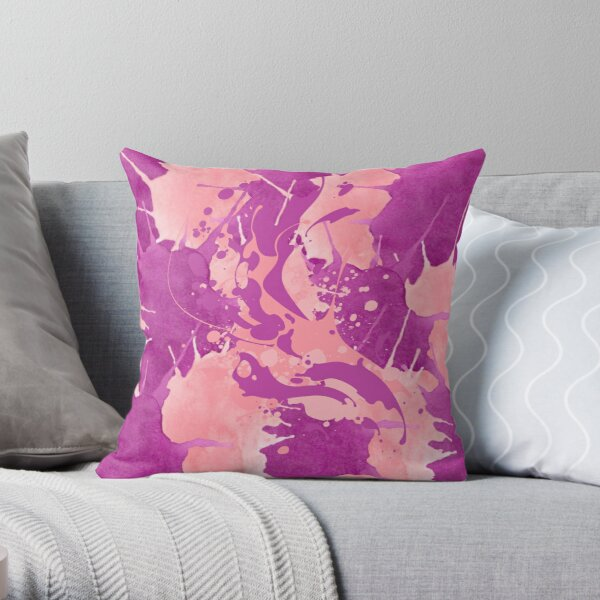 Psychedelic Pink and Mauve Throw Pillow