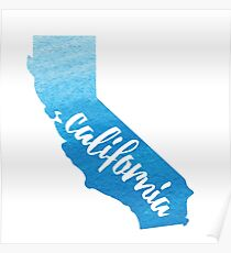 California - blue watercolor  Poster