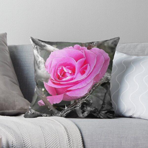 Pink Rose Among the Thorns Throw Pillow