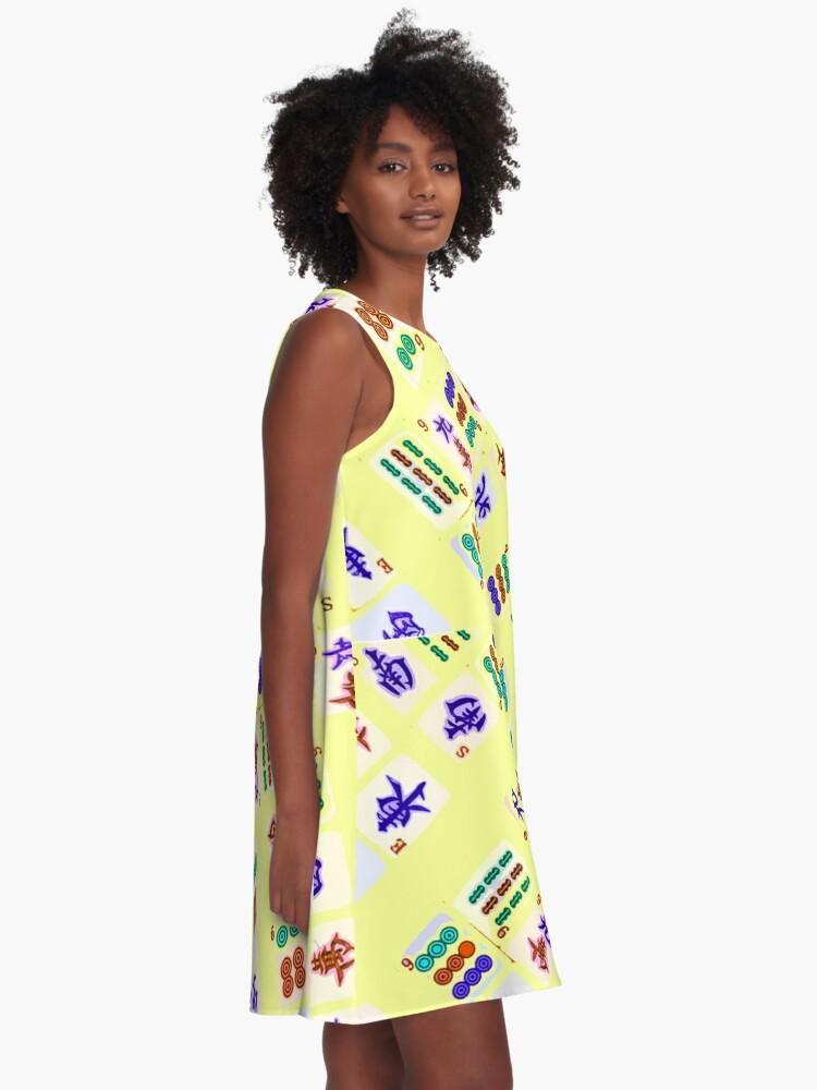 Alternate view of Mahjong Yellow Pattern A-Line Dress
