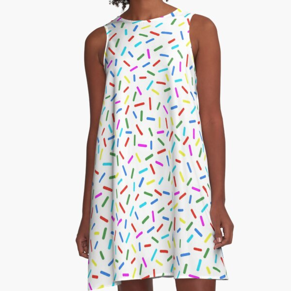 Bright Colorful Rainbow Sprinkles A-Line Dress
