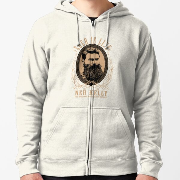 Ned Kelly - Original Outlaw Design in cream Zipped Hoodie