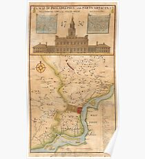 Vintage Map of Philadelphia Pennsylvania (1750) Poster