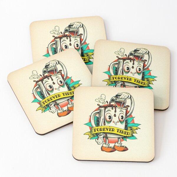 Forever Tired Coffee Mug Cartoon Character Coasters (Set of 4)