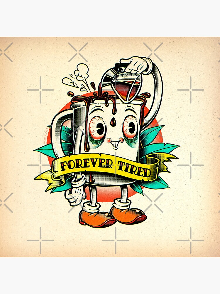 Forever Tired Coffee Mug Cartoon Character by andremuller