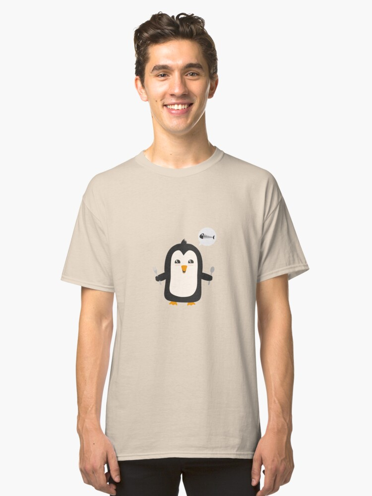 Penguin with fish   Classic T-Shirt Front