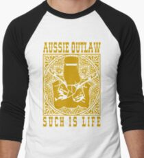 Ned Kelly Aussie Outlaw in Yellow Men's Baseball ¾ T-Shirt