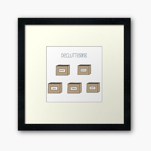 Hand Drawn Decluttering Minimalism Stickers Framed Art Print